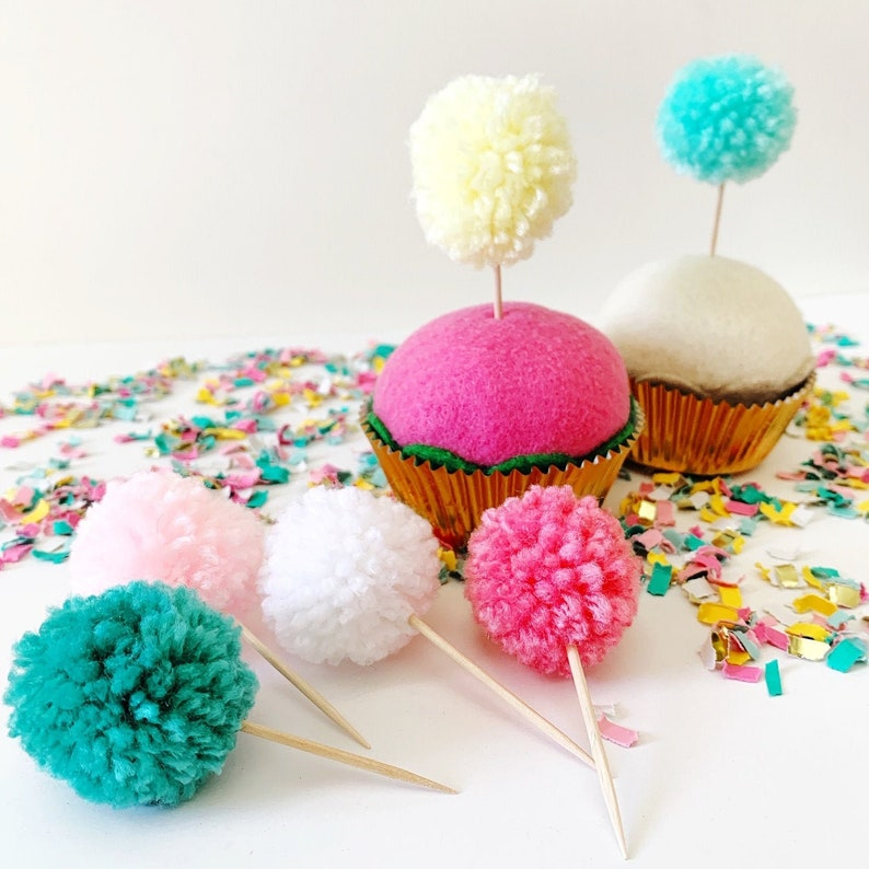 Pom Pom Cupcake Toppers Pastel Christmas Decorations Merry image 0