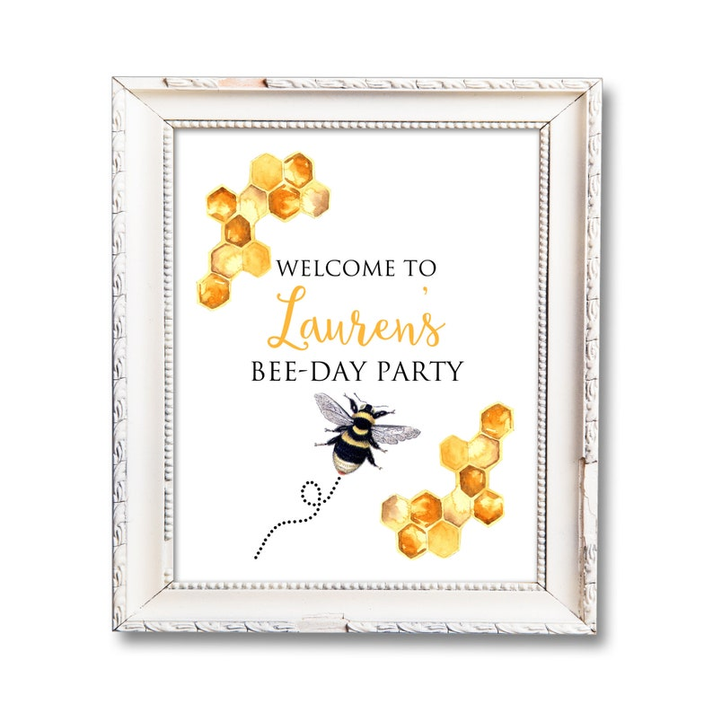 Bee Birthday Sign Bee Day Party Printable Sign Personalized image 0