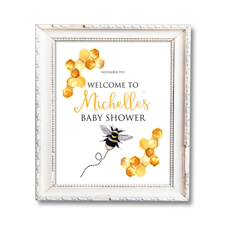Bee Baby Shower Printable Sign Personalized Welcome Sign image 0
