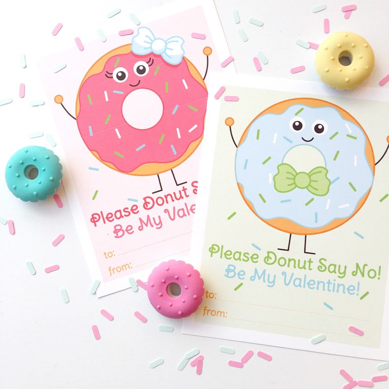 Donut Valentine Printable Cards Doughnut Valentines Boy and image 0