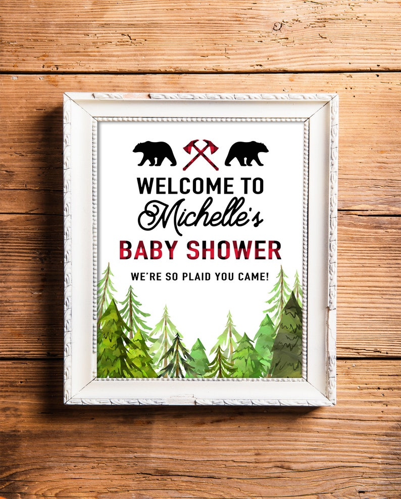 Printable Lumberjack Baby Shower Sign Personalized Welcome image 0