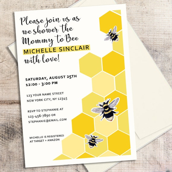 Bee baby shower invitation mommy to bee baby shower bee etsy image 0 filmwisefo