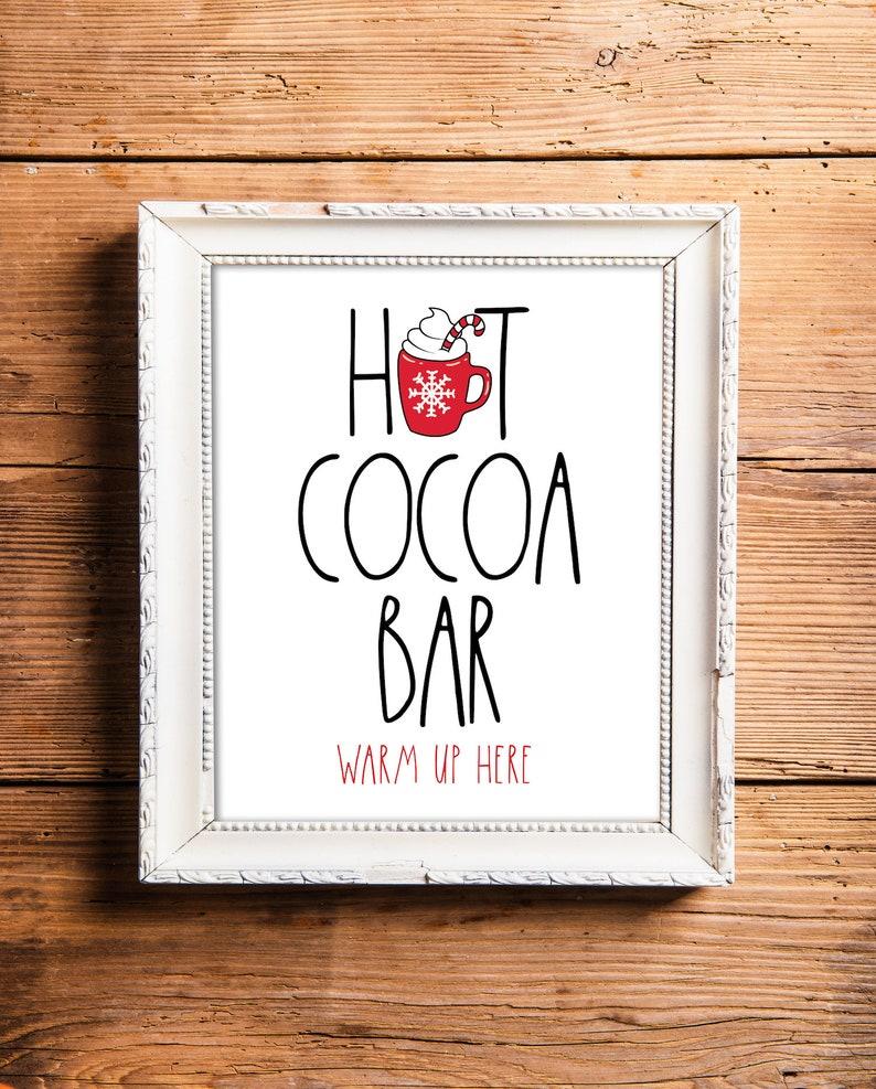 Hot Cocoa Bar Sign Printable Hot Chocolate Bar Sign Winter image 0
