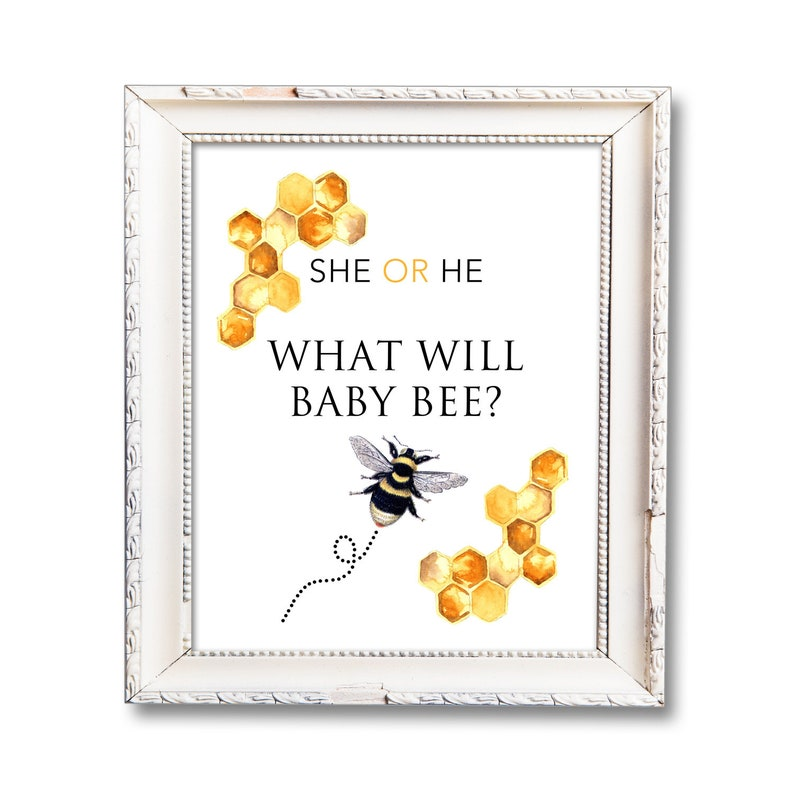 Gender Reveal Sign Printable He or She What Will Baby Bee image 0