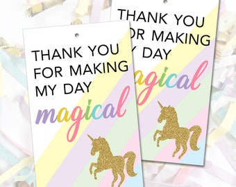 Unicorn Party Favor Tags, Printable Unicorn Thank You Tags, Pastel Unicorn Party, Magical Unicorn Birthday, Gold Glitter, Instant Download