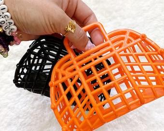 Mini Halloween Boo Baskets, Trick or Treat Bags, Mini Plastic Jelly Bags, Made in USA, Halloween Favor Bags, Black Bags, Orange Bags