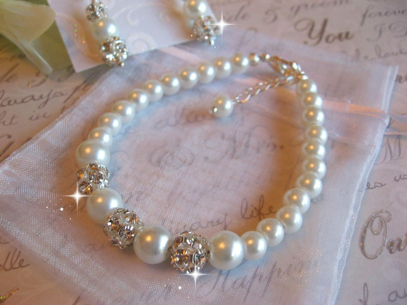 Wedding Pearl and Rhinestone Bracelet and Earring SetBridemaid or Bride Jewelry SetWeddng Jewelry SetBridal Jewelry