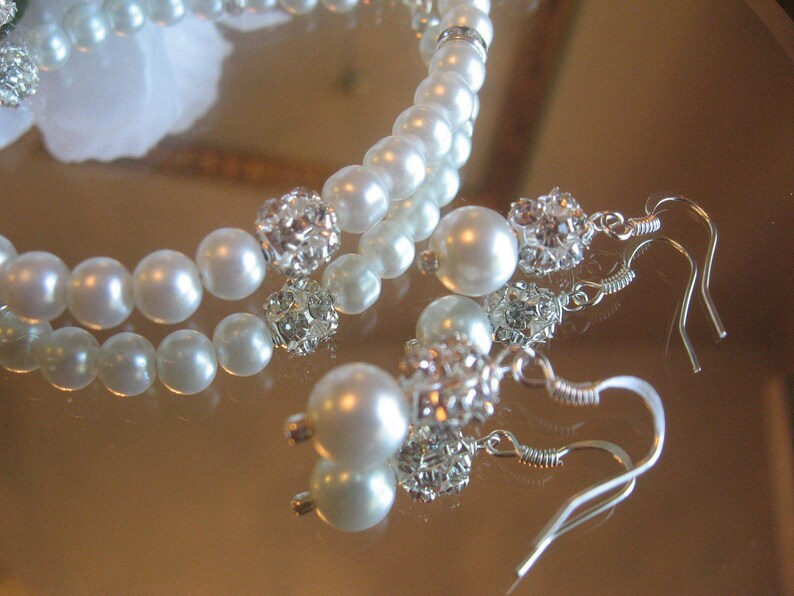 Wedding Jewelry for the Bride or Bridesmaids Wedding Jewelry Set Crystal and Pearl Bracelet and Earring Set in White or Ivory Pearls