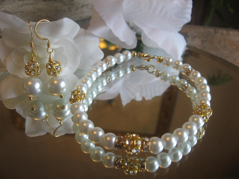 Wedding Rhinestone and Pearl Gold Filled Bracelet and Earring Set Bride or Bridesmaid Jewelry SetWedding JewelryPearl Wedding Jewelry