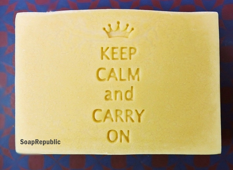 SoapRepublic Keep Calm And Carry On 47x20mm Acrylic Soap Stamp