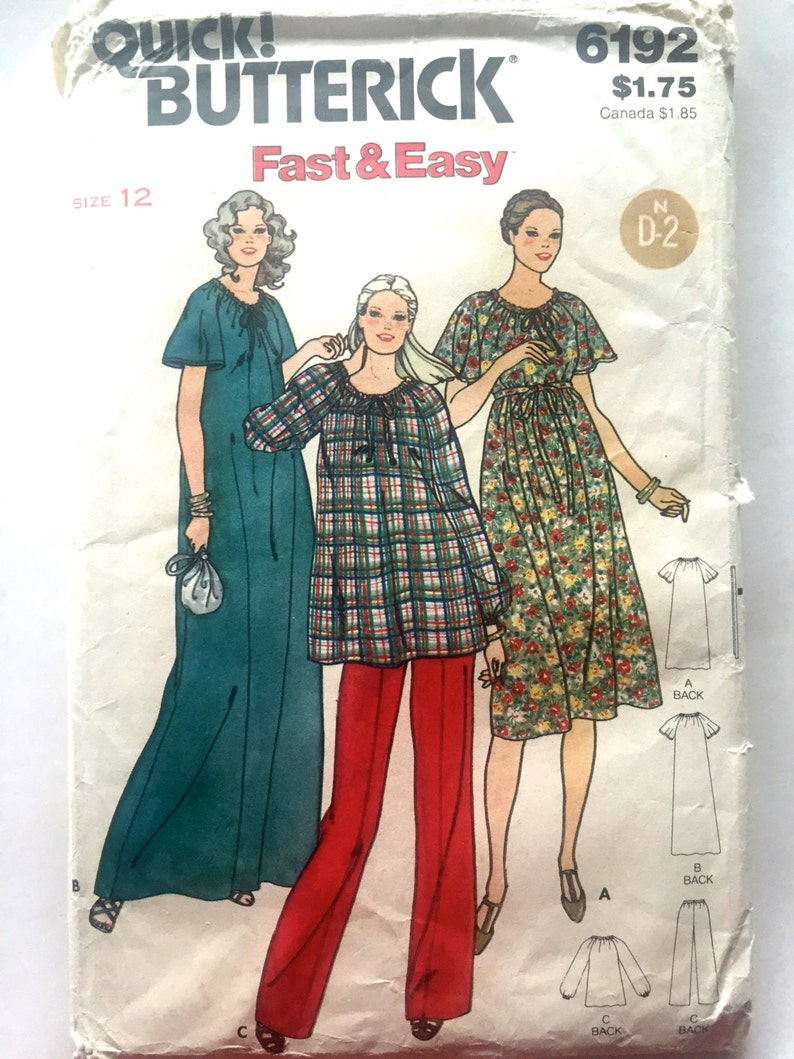6528eec4c1938 80s Butterick 6192 Maternity Dress Loose Fitting Flared Maxi | Etsy