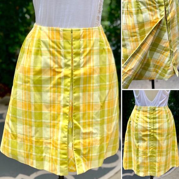 70s plaid mini skirt/ 1970's Plaid Cotton Yellow O