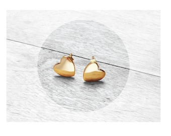 Get 15% OFF - 18K Gold Plated Sterling Silver 925 Petite Heart Stud Earrings - Father's Day SALE 2018