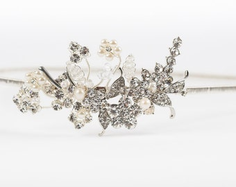Sparkly silver floral vintage style headband with rhinestones, crystals and pearls