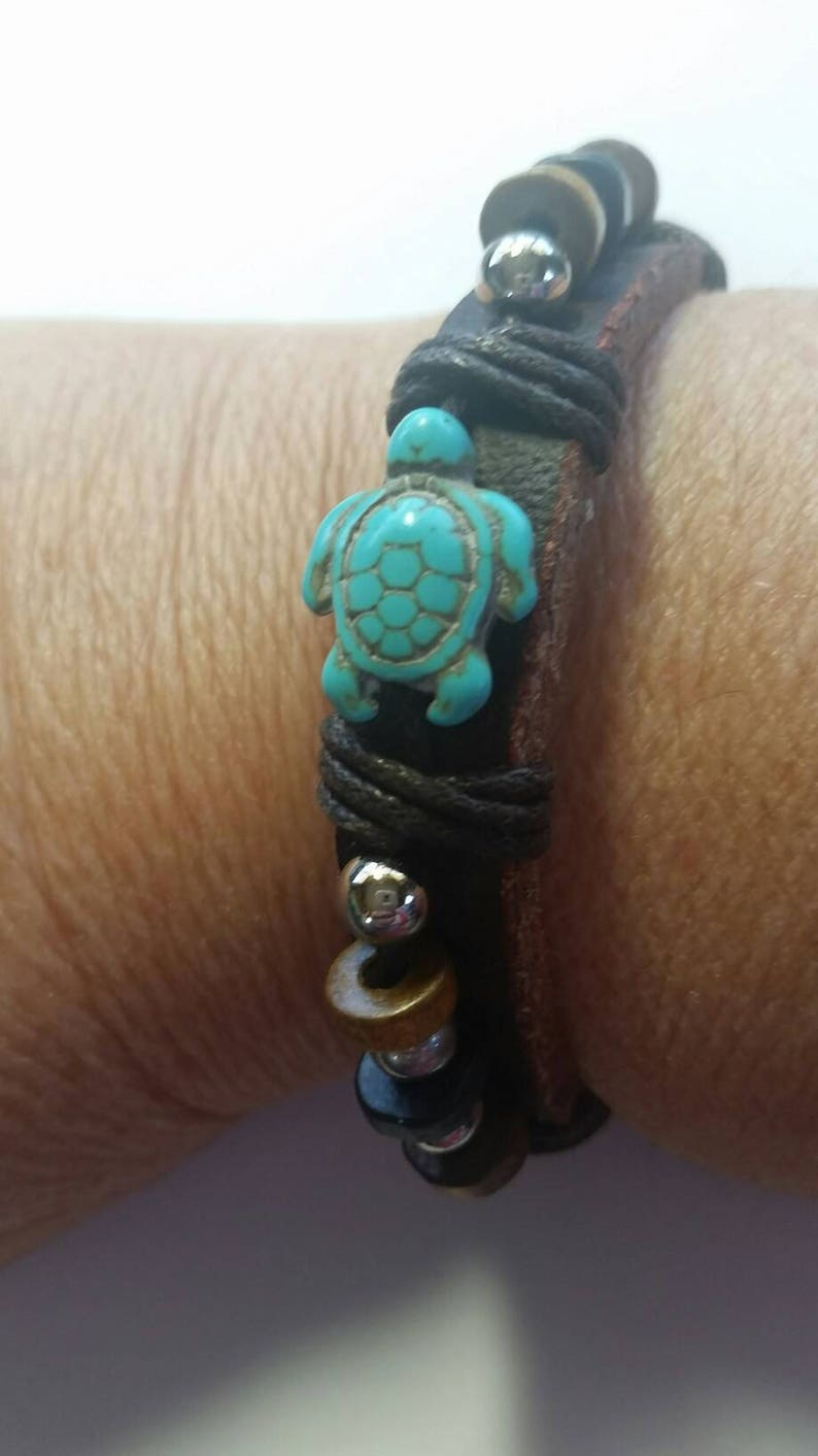 Turtle leather bracelet turquoise adjustable image 0