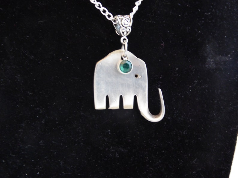 Fork Elephant pendant.  Art jewelry upcycled from silverware. image 0