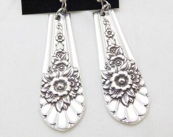 Jubilee silverware earrings, silver jewelry, 1953 vintage silverware, pierced, free shipping, free gift box