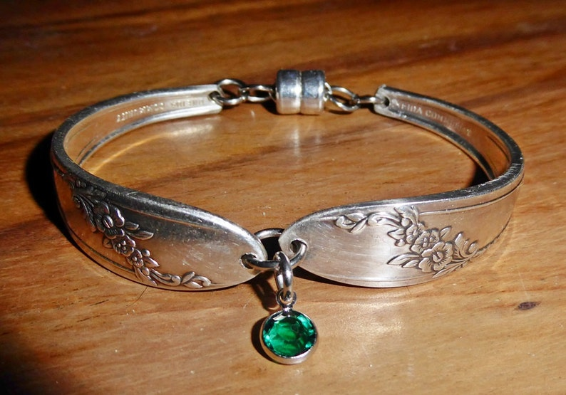 Spoon bracelet Queen Bess 1946 birthstone free shipping and image 0