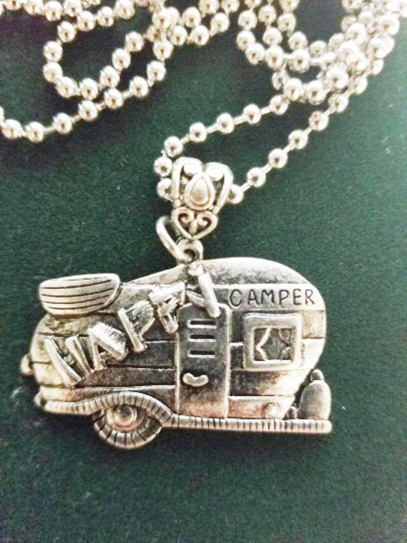 Camping jewelry Happy camper  necklace glamping bling image 0
