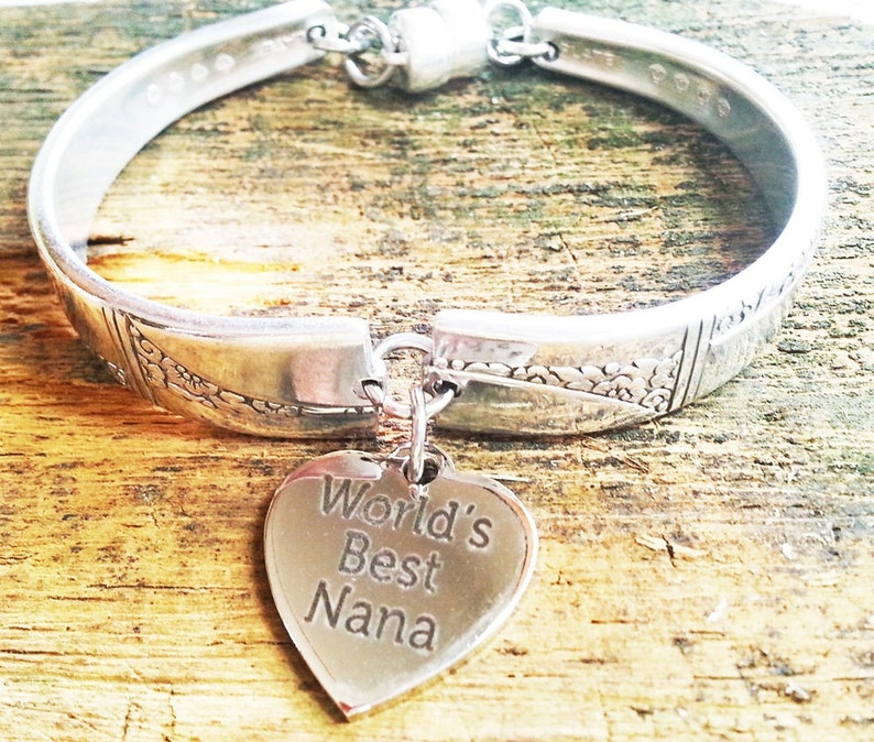 Nana spoon bracelet Caprice 1937 antique silverware gift Mom image 0