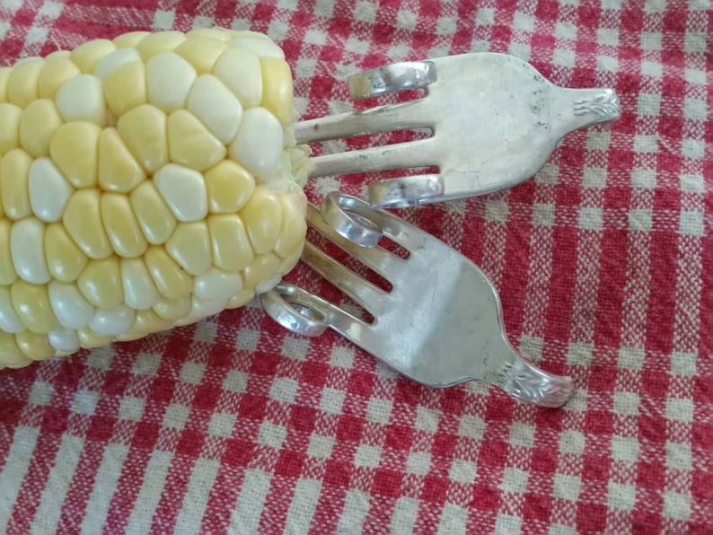 Corn holders 1 pair upcycled forks silverware art image 0