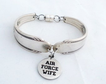 Spoon bracelet, Air force charm, military jewelry, Caprice 1937 silverware, Mother's day, ready to ship, free shipping and gift box