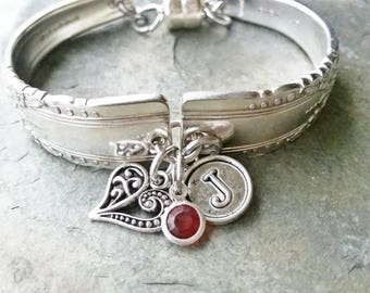 Spoon bracelet, vintage silverware, Artistic 1940, heart, choice birthstone, and initial charm free shipping