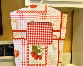 Red and White Checks Fabric Clothespin Peg Bag with Strawberries