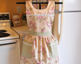Women's Old Fashioned Apron with Pink Roses and Green Polka Dots