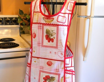 Women's Old Fashioned Cross Back Apron in Red and White