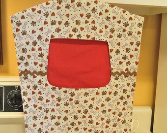 Red and Beige Fabric Clothespin Peg Bag with Doggy Paws and Hearts