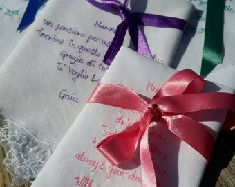 Poetry Gift // Poetry Handkerchief // Embroided Handkerchief // Celebration Gift