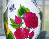 Vase, painted roses, yellow flowers, butterflies, stained glass effect