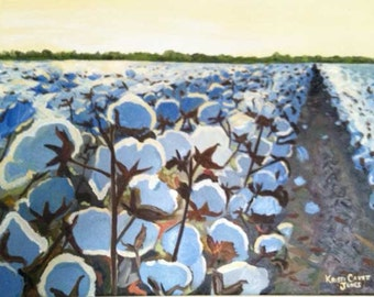 Cotton in the Light | impressionist art PRINT | cotton bolls and field | Louisiana farm southern  rural agricultural country blue art