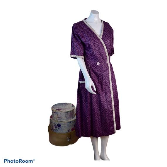 Original 1940s 50s Vintage Purple Cotton Wrap Dres