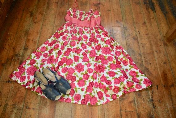 "1950s Vintage Rose Print ""Rhona Ray"" Dress"