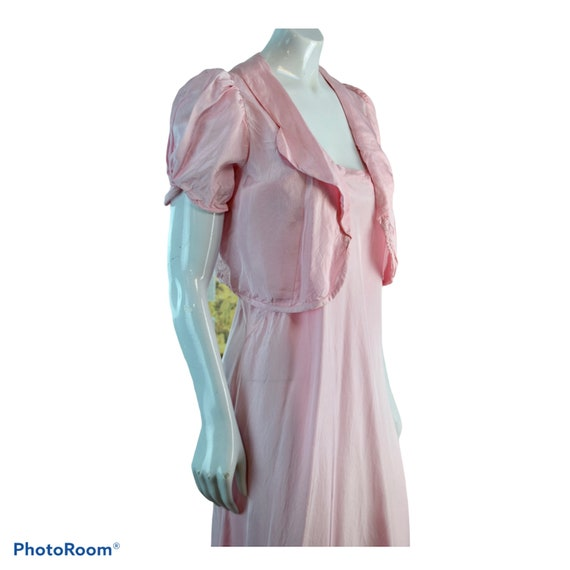 1940s ~Vintage Pink Rayon Night Gown with Bolero J