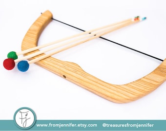 Large Wooden Bow and Arrows  - Natural Wood Toy Bow - Handmade - Birthday Gift - From Jennifer - TOY2