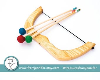 """Small Bow and Arrows - """"Copyright From Jennifer"""" - Natural Wood Toy Bow"""