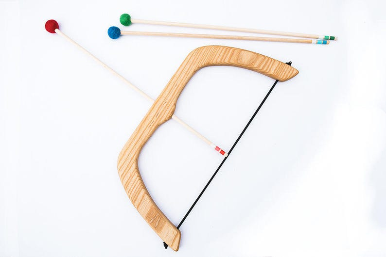 Large Wooden Bow and Arrows