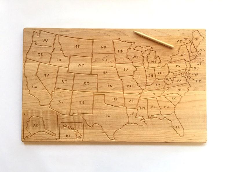 USA and Continents Tracing Board Homeschool Waldorf Montessori image 0