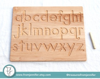 """Printed Alphabet Wood Tracing Board """"From Jennifer"""""""
