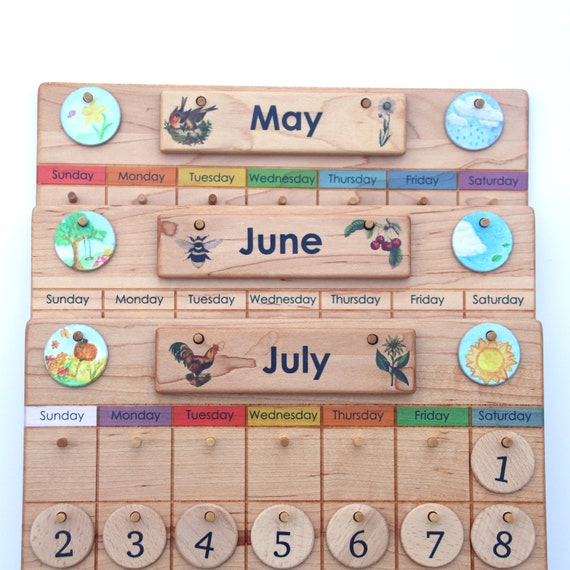 picture about Perpetual Calendar Chart identify Property Calendar -- Wood Perpetual Calendar -- Temperature Chart -- Waldorf Montessori Calendar -- Heirloom Homemade Homeschool
