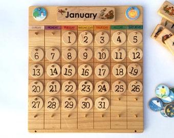 Wooden Perpetual Calendar -- Weather Chart -- Waldorf Montessori Calendar -- Heirloom Handmade Homeschool