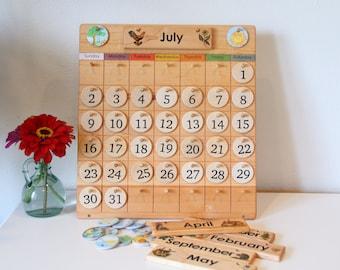 """Home Calendar """"From Jennifer"""" -- Wooden Perpetual Calendar"""
