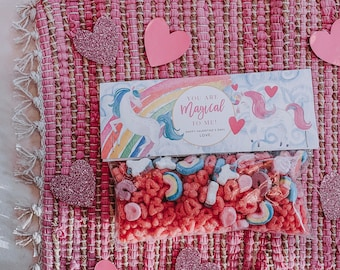 INSTANT Download-Valentine's Day Unicorn Treat Bag Tags: You are Magical to Me! -Printable PDF