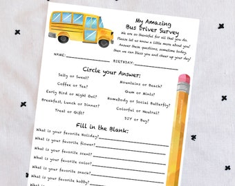 INSTANT Download-Bus Driver Survey: Get To Know Your Bus Driver Printable PDF