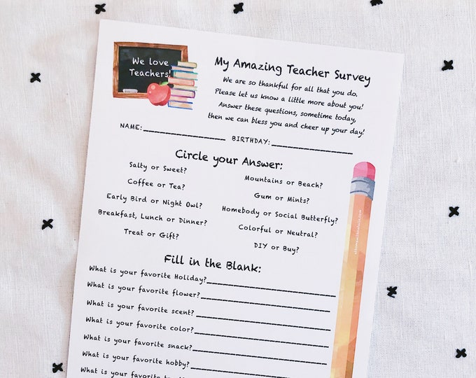 Featured listing image: INSTANT Download-Teacher Survey: Get To Know Your Teacher Printable PDF