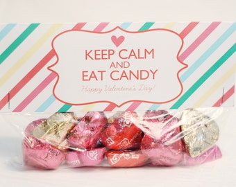 INSTANT Download-Valentine's Day Treat Bag Tags: Keep Calm -Printable PDF