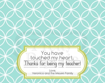 INSTANT Download-Teacher Gift: You Touched My Heart Treat Bag Tags - Printable PDF